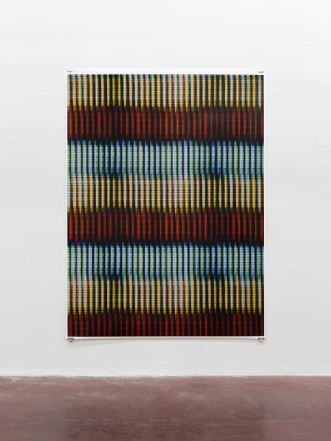 """מתן מיטווך, (I) Blinds, 2015,  הזרקת דיו ארכיונית על נייר ע\""""ב בד, 160x3213.5 ס""""מ. באדיבות גלריה דביר והאמן. צילום: אלעד שריג"""