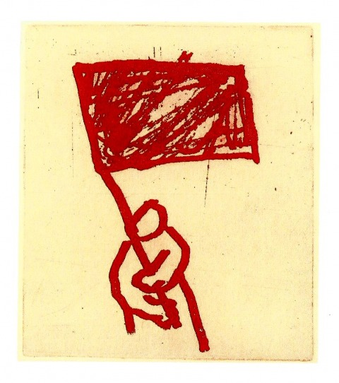 Dov Heller, Man with Red Flag, 2005
