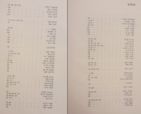 The names of the photographers who appear in the Table of Contents of the First Israel Photography Annual, Peter Merom (Ed.), Agam, Tel-Aviv, 1964 (Hebrew) Scan: Hagai Ulrich, January 2019, the library of the Tel Aviv Museum of Art.