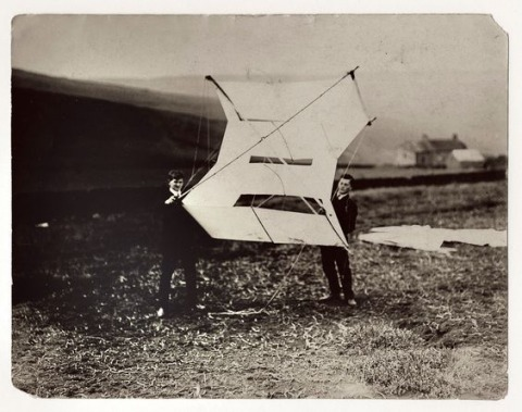Ludwig Wittgenstein and William Eccles at the kite station in Glossop, England, 1908 Public domain image