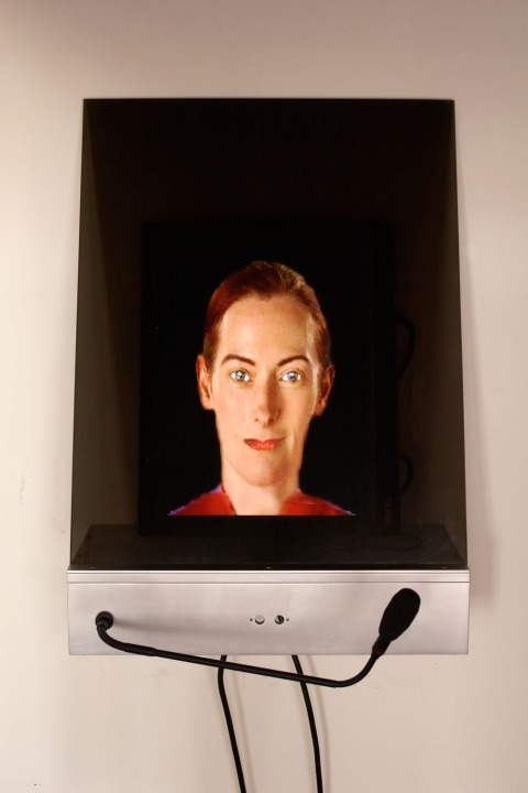 Lynn Hershman Leeson (b. 1941) DiNA, 2004–06 Custom software, voice recognition, voice synthesis, sensors, sound, and one-way mirror 28 x 6 x 16 in. (71.1 × 15.2 × 40.6 cm) Collection of the artist; courtesy Bridget Donahue Gallery, New York © Lynn Hershm