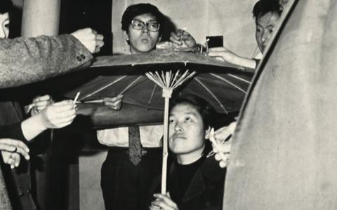 Choi Boong-hyun et al.  Happening with a Plastic Umbrella and Candles, documentary photographs, December 14 (4 pm), 1967 Courtesy: Korea Art Research Institute (KARI), Seoul