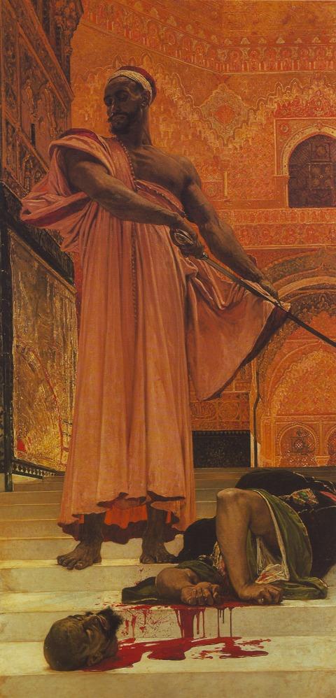 """אנרי רניו, הוצאה להורג ללא משפט תחת שלטון המורים בגרנדה, 1870, מוזיאון ד'אורסיי, פריז שמן על בד, 302X146 ס""""מ. הדימוי ברשות הציבור"""