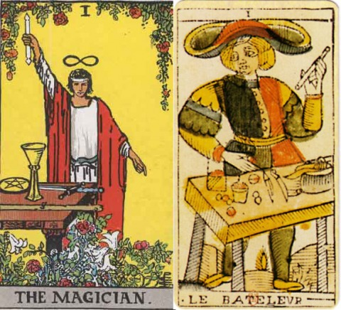 Left: The Magician (I), from the Rider-Waite tarot deck Right: The Mountebank, from the Tarot of Marseille