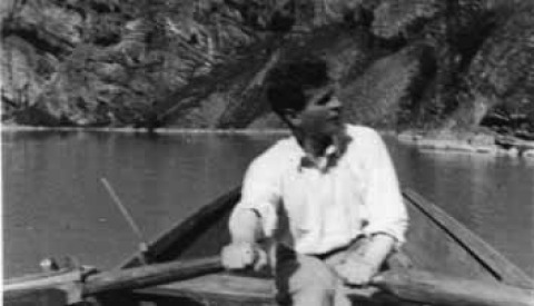 The Austrian philosopher Ludwig Wittgenstein rows a boat on the Eidsvatn lake in Skjolden, on his way to his cabin and solitude up in the mountain.