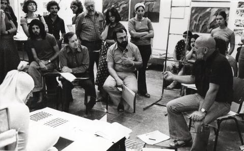 Work critique, with Hanan Laskin and John Byle, head of the art department, 1976. Photography: Hadasa Ben Zvi. From: Photographic Truth is a Natural Truth – a Chronicle of a Photography Department,  page 338. Courtesy of Noa Sadka