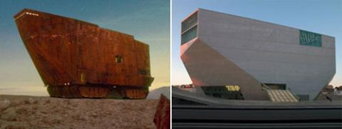 Casa de Musica, Porto, OMA and Sandcrawler from Star Wars