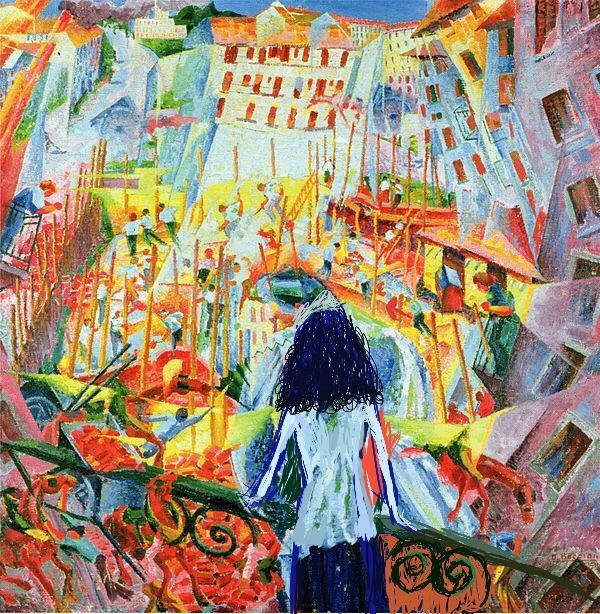 "Reaction to Rona Shahar In the background, ""The Street Enters the House"" 1912, by Boccioni From the exhibition ""In the Open""  Art Gallery at the Memorial Center Tivon Curator: Michal Shachnai Yakobi February 22 – April 18, 2019"