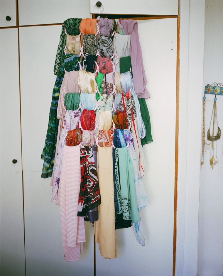 Aya's wardrobe, hijabs, Jerusalem, 2018