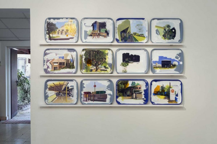 "Efrat Galnoor, Trays, acrylic on plastic trays, 2018 From: The Road to Ein Harod #4 – Givotaim (two hills), the gallery at Kibbutz Givat Haim, October 2018 Photography"" Lena Gomon Courtesy of Efrat Galnoor"