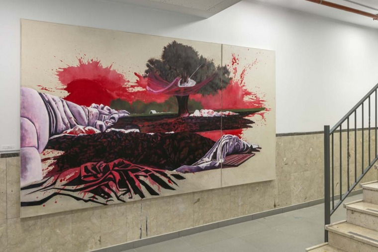 Efrat Galnoor, Charcoal Plant, acrylic and oil on canvas (two parts), 2019, 210X300 cm From: The Road to Ein Harod #5 – The Broken Time, Umm al-Fahm Art Gallery, April 2019 Photography: Lena Gomon Courtesy of Efrat Galnoor