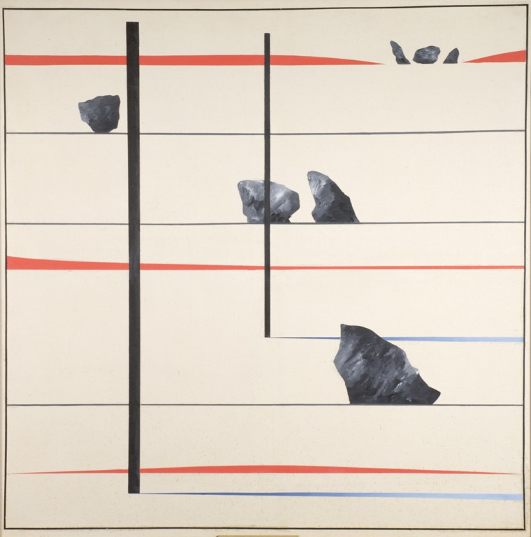 Derek Jarman, Avebury Series No.4 (1973), Oil on canvas, 120x120 cm Northampton Museums and Art Gallery