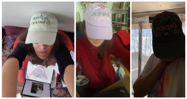 Triple selfie with hats, October 5, 2020