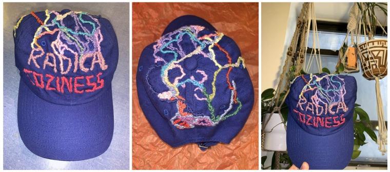 Blue Radical Coziness hat for Noa C., Brooklyn, June 2020