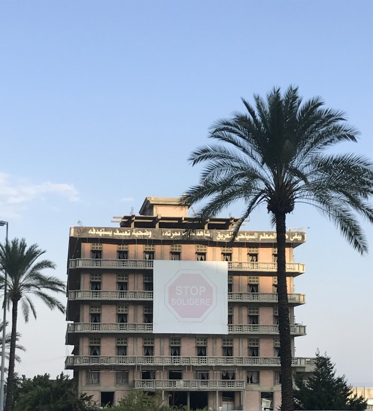 'Stop Solidere' St Georges Hotel, Beirut. Image by Charlotte Bleicher