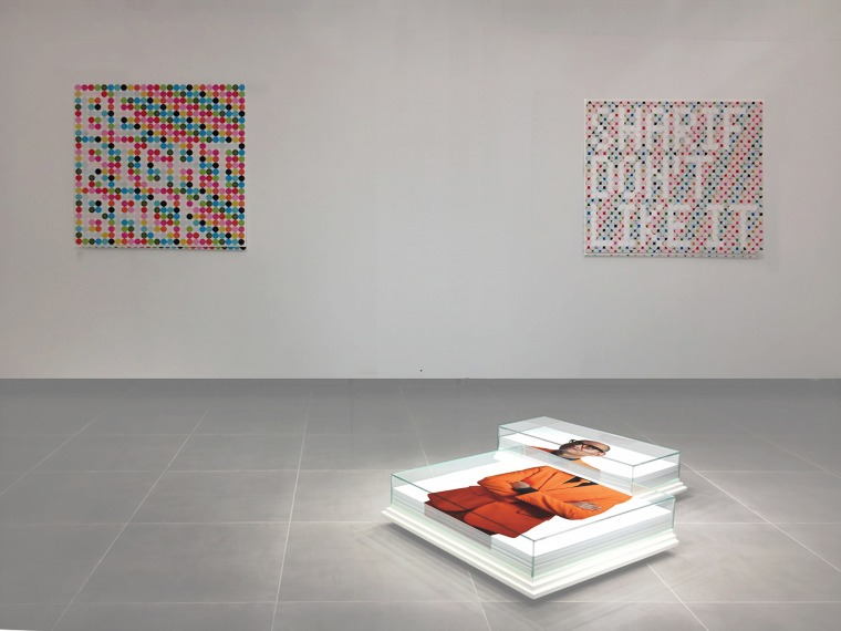 Sharif Waked, Crop Marks, 2016 Floor installation, 2 boxes 35 x 75 x 20 cm & 71 x 75 x 20 cm Glass, wood, offset printed poster & wheels