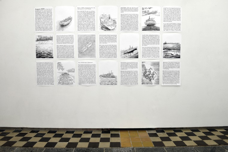Panel installation of Baers's Invisibility Chronicles, Part One. Photograph: Thomas Kilpper