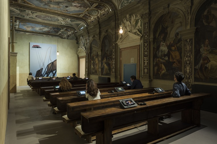 "Installation view, ""The Boat is Leaking. The Captain Lied"" (Curator: Udo Kittelmann). Fondazione Prada, Venice"