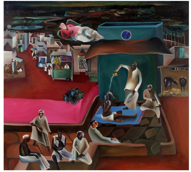 Bhupen Khakhar, Death in the Family, 1977 Oil paint on canvas. Victoria and Albert Museum