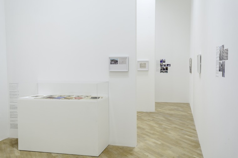 Installation view: Emily Jacir: Europa (Material for a film, 2004 - ) Whitechapel Gallery, London 30 September 2015 – 3 January 2016  Courtesy of the artist Photo: Dan Weill