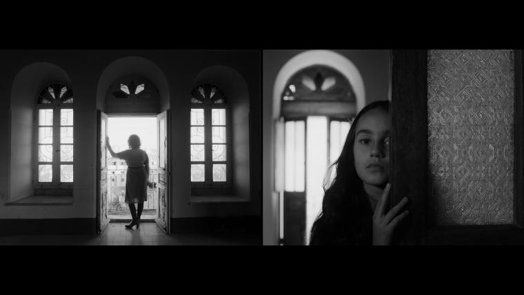 """לריסה סנסור וסורין לינד, """"במבחנה"""", סרט דו-ערוצי בשחור-לבן, 27 דקות ו-44 שניות, 2019. באדיבות האמנית"""