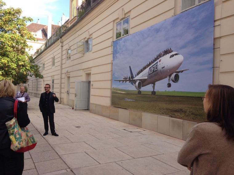 Halil Altindere, Köfte Airlines, outdoor installation view, Vienna