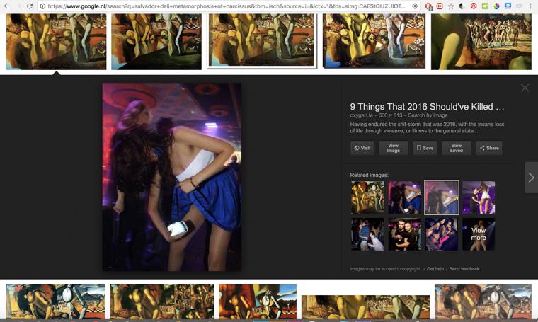 גוגל מציע תמונה שהוא מזהה כדומה למטמורפוזה של נרקיס