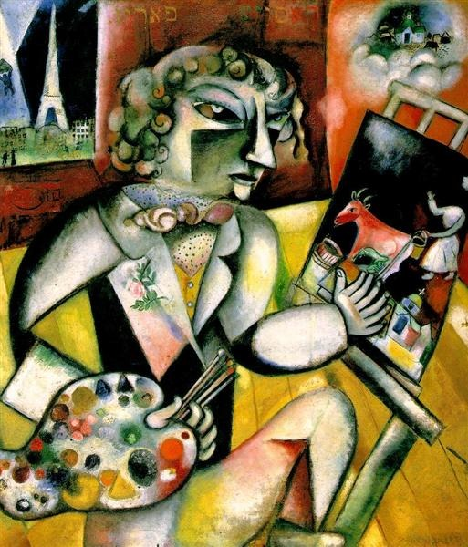 Marc Chagall, Self-Portrait with Seven Fingers, 1913, oil on canvas, 127x107 cm