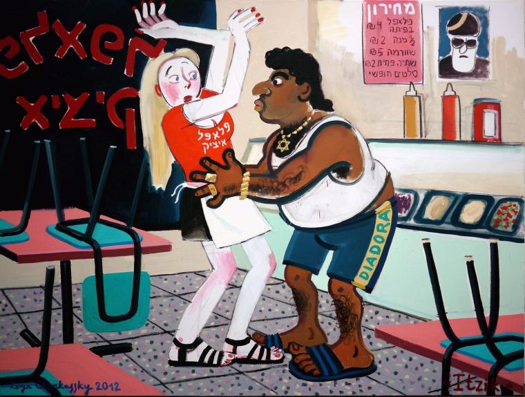 """زويا تشركسكي, 2012, ايتسيك، من سلسلة """"برافدا""""، ألوان زيتية على قماش 200*150 سم. بلطف: زويا تشركسكي وجاليري روزنفلد، تل أبيب"""