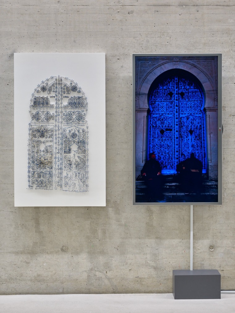 Bab ma7ruk, 2015, 122X69 cm, wooden box with 11,000 blue safety matches, with a video work, KIT Dusseldorf,