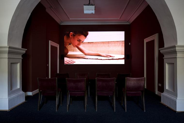 רועי רוזן, ערוץ האבק, 2016, וידאו דיגיטלי, מבט הצבה, ארמון בלוויו, קאסל, דוקומנטה 14 צילום: דניאל ווימר