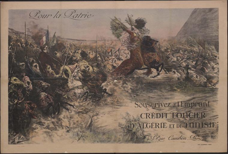 """ז'ורז' קלרן, למען המולדת – הצטרפו להלוואה – בנק הלוואות נדל""""ן של אלג'יר ותוניס, 1918, כרזה,  ליתוגרפיה אוסף הספרייה הבריטית, ברשות הציבור"""