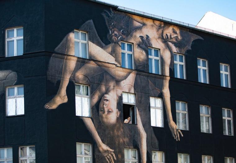 Bat Eating Humans, a mural in Berlin.  Photography: Merav Maroody, April 2020