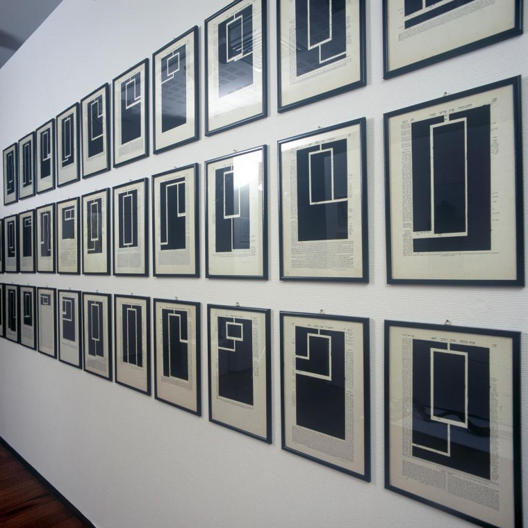 An Introduction to the Principle of Relative Expression, 1979, black oil crayon on pages from the Babylonian Talmud, 27X40 cm each.