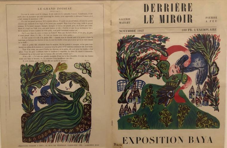 """כריכת מהדורת נובמבר 1949 של """"מאחורי המראה"""" עם ציור של באיה. העבודה מוצגת בתערוכה """"שאגאל, פיקאסו, מונדריאן ואחרים: אמנים מהגרים בפריז"""", במוזיאון סטדליק באמסטרדם. צילום: מאט הנסן"""