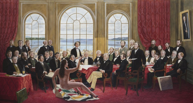 Kent Monkman, The Daddies, 2016, Acrylic on canvas, Collection of Christine Armstrong and Irfhan Rawji