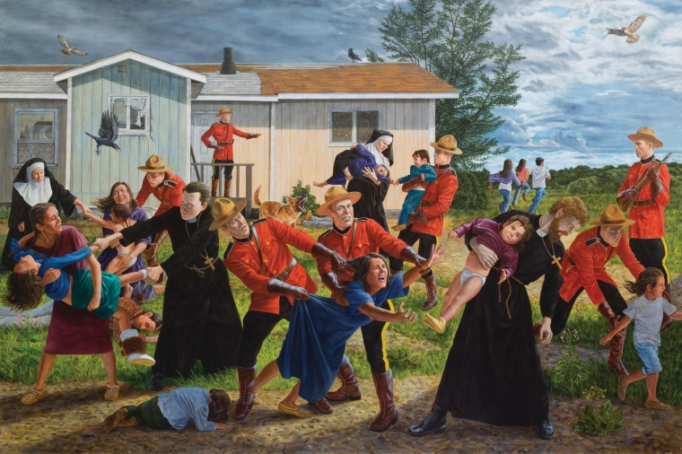 "Kent Monkman, The Scream, 2017, Acrylic on canvas. 84"" x 132"", Collection of the Denver Art Museum, Native Arts acquisition fund"
