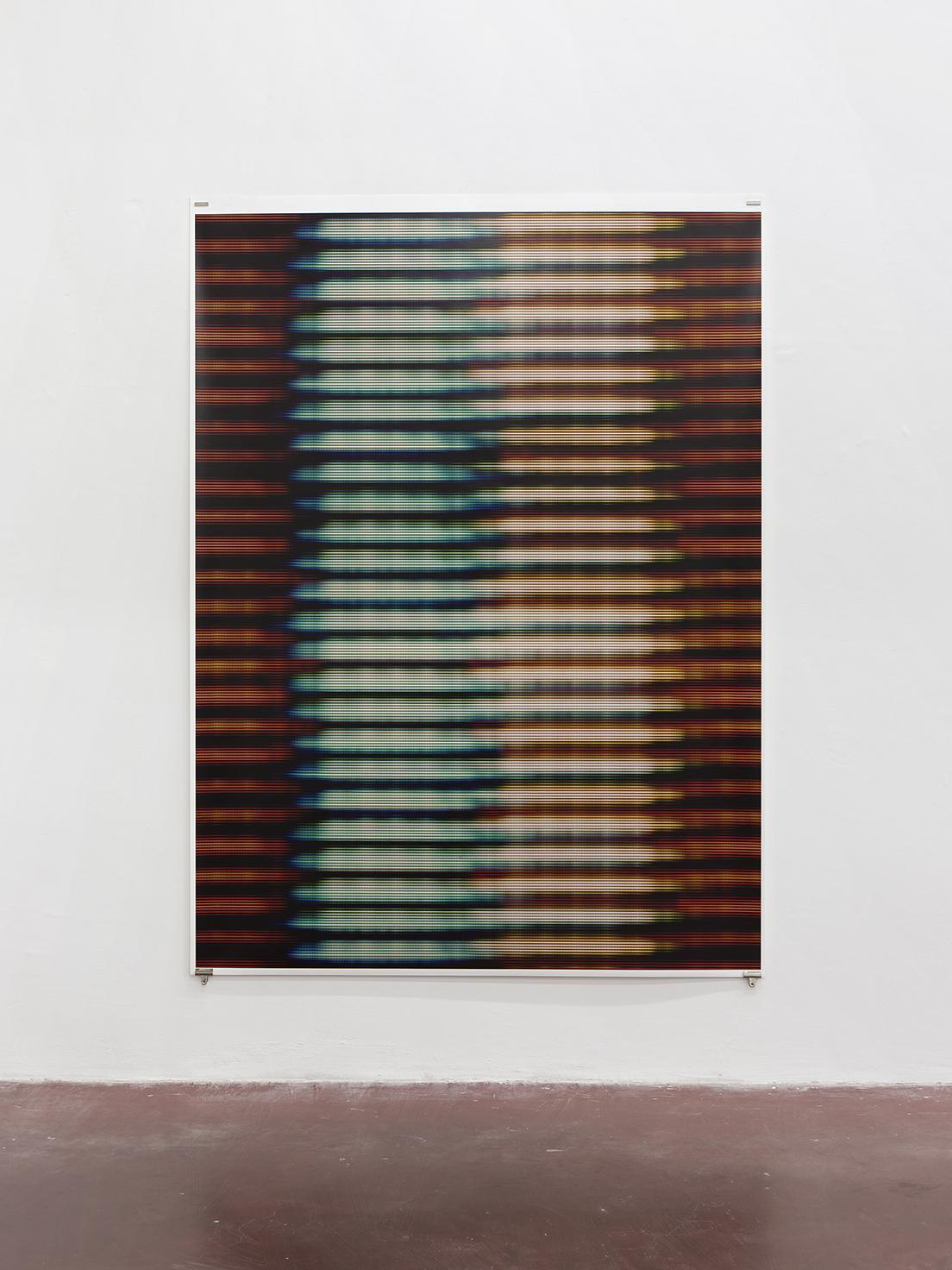 """מתן מיטווך, VII) Blinds), 2015, הזרקת דיו על נייר ארכיבי, 160x3213.5 ס""""מ. באדיבות גלריה דביר והאמן. צילום: אלעד שריג"""