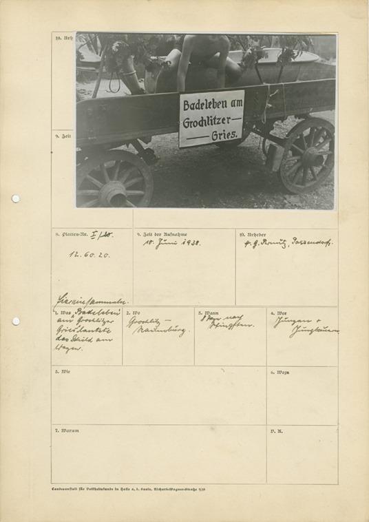 Foto-Erfassungsbogen mit Aufnahme von H. G. Pernutz: Badeleben am Grochlitzer Gries, 1938 Hahne-Niehoff-Archiv © Institut für Europäische Ethnologie, Humboldt-Universität zu Berlin