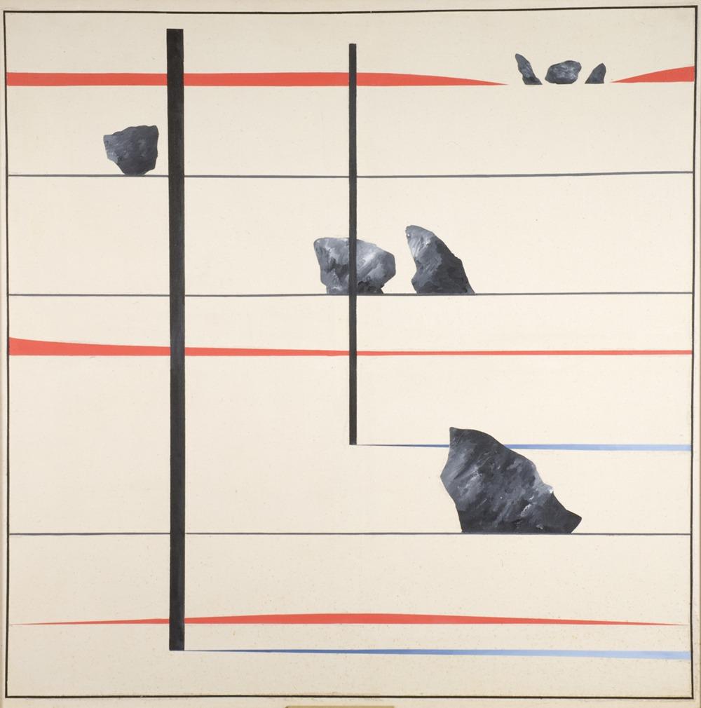 Derek Jarman, Avebury Series No. 4, 1973, oil on canvas 120 x 120 cm, Northampton Museums and Art Gallery