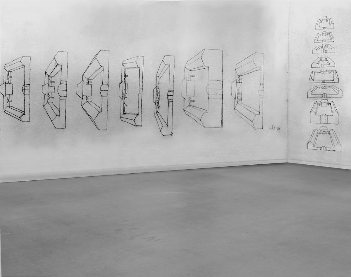 תמר גטר, חצרות תל-חי, 1975, פחם על שני קירות