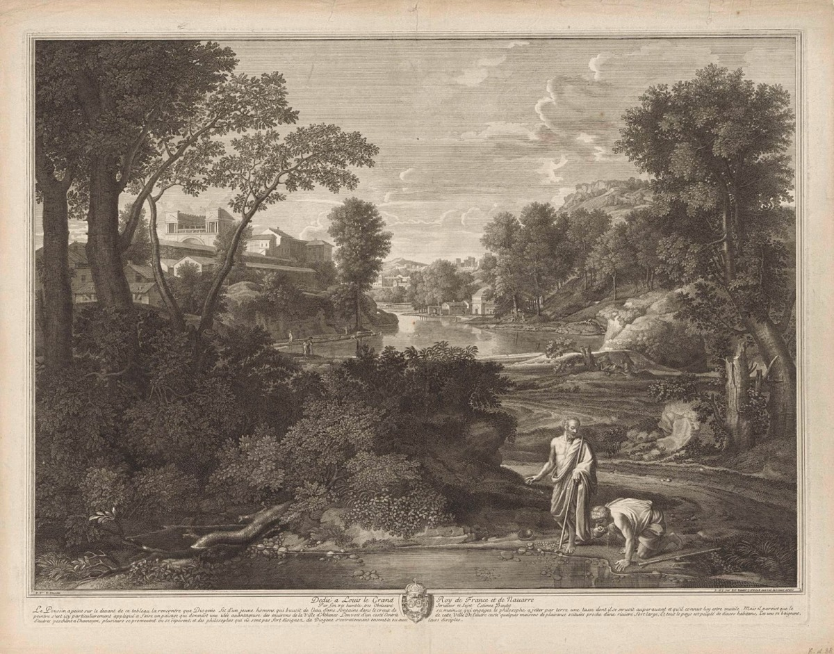 Etienne Baudet after Nicolas Poussin Landscape with Diogenes  1701 etching, engraving Rijskmuseum, Amsterdam