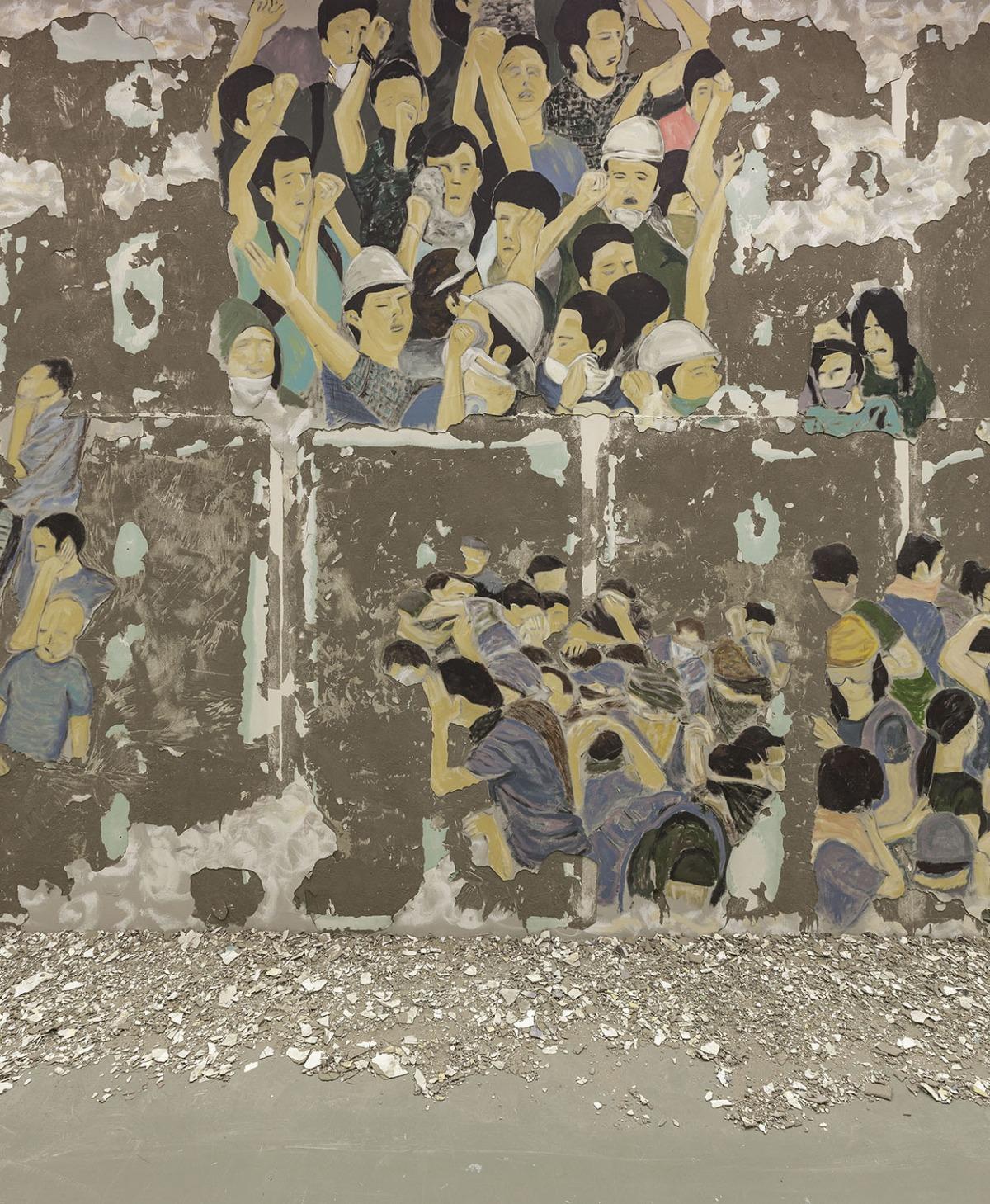Latifa Echakhch, Crowd Fade, 2017  Fresco 365 x 2028 x 136 cm each  Courtesy of the artist, Galerie Kamel Mennour (Paris), Kaufmann Repetto (Milan), Galerie Eva Presenhuber (Zurich), Dvir Gallery (Tel Aviv)  Produced with the support of Pro Helvetia and I