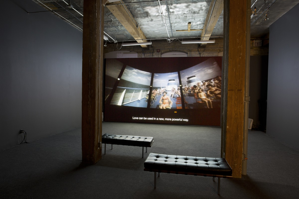 """Anton Vidokle: Immortality for All: a film trilogy on Russian Cosmism,"" installation view at YYZ Artists' Outlet, Toronto, 19 January– 16 March, 2019. Photo: Allan Kosmajac. Courtesy of YYZ Artists' Outlet"