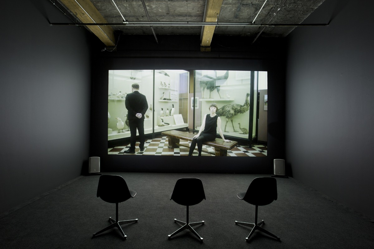 """""""Anton Vidokle: Immortality for All: a film trilogy on Russian Cosmism,"""" installation view at YYZ Artists' Outlet, Toronto, 19 January– 16 March, 2019. Photo: Allan Kosmajac. Courtesy of YYZ Artists' Outlet"""