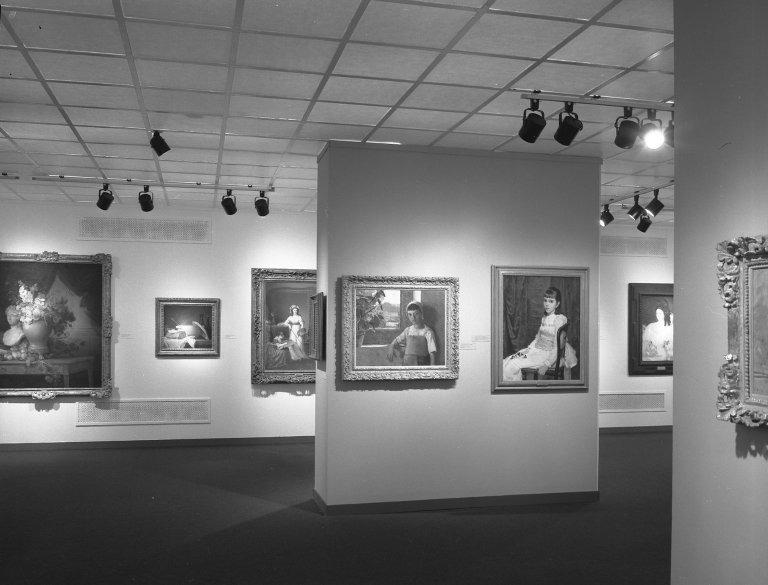 Installation view, Women Artists 1550-1950, the Brooklyn Museum October 1, 1977 - November 27, 1977. Curators: Dr. Ann Sutherland Harris, Dr. Linda Nochlin.