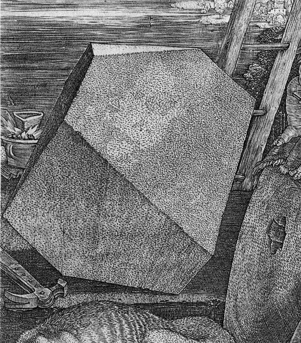 פרט מתוך אלברט דירר, מלנכוליה I , תחריט 1514