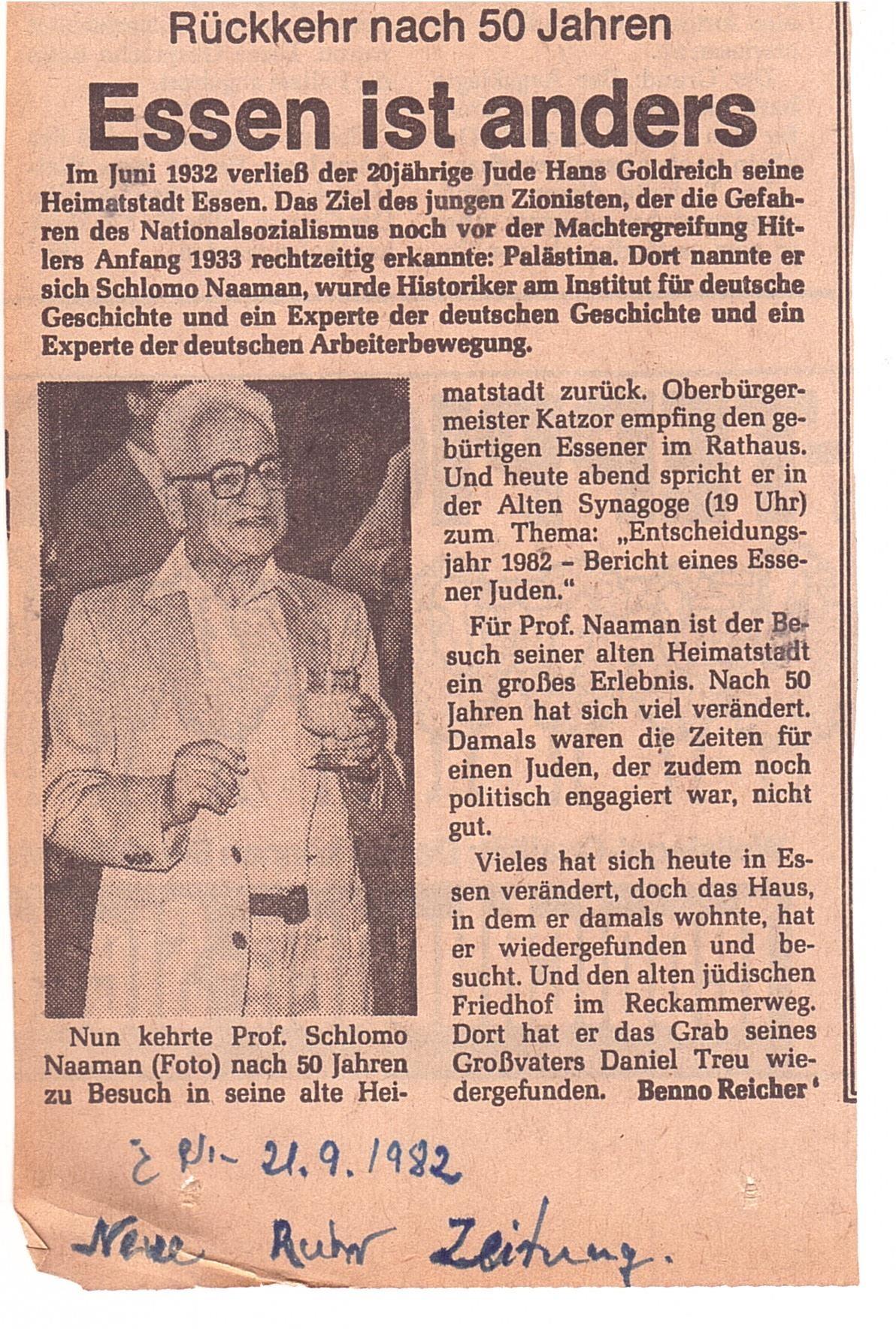 """""""נוייה רוהר צייטונג, 21.9.82-אסן היא אחרת"""": גזיר עיתונות מהארכיון המשפחתי המתאר את חזרתו של אביה של מיכל נאמן לעיר אסן בשנת 1982, כאשר קיבל אזרחות כבוד ונתן הרצאה."""