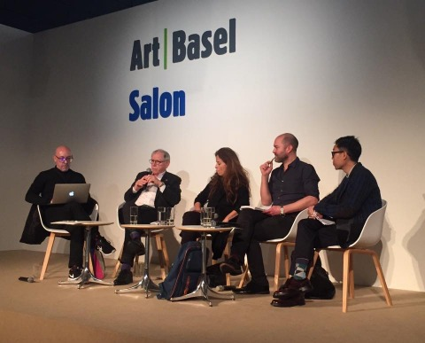 a panel discussion at ABHK 2016 with (from left to right: David Elliot (Independent Curator), Menene Gras Balaguer (Director, CASA Asia, Spain), Jamie Wyld (Director, Videoclub, UK) and Dr Issac Leung (Chairman, Videotage, HK)