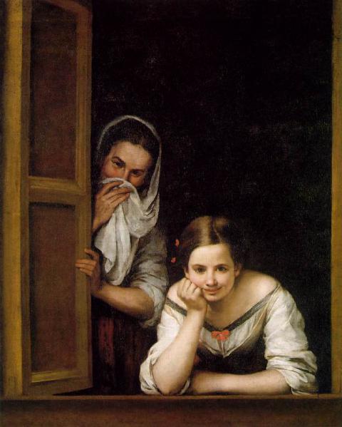 ברתולומה אסטבן מוריו, שתי נשים בחלון, 106*127 ס״מ. 1670. הגלריה הלאומית, לונדון